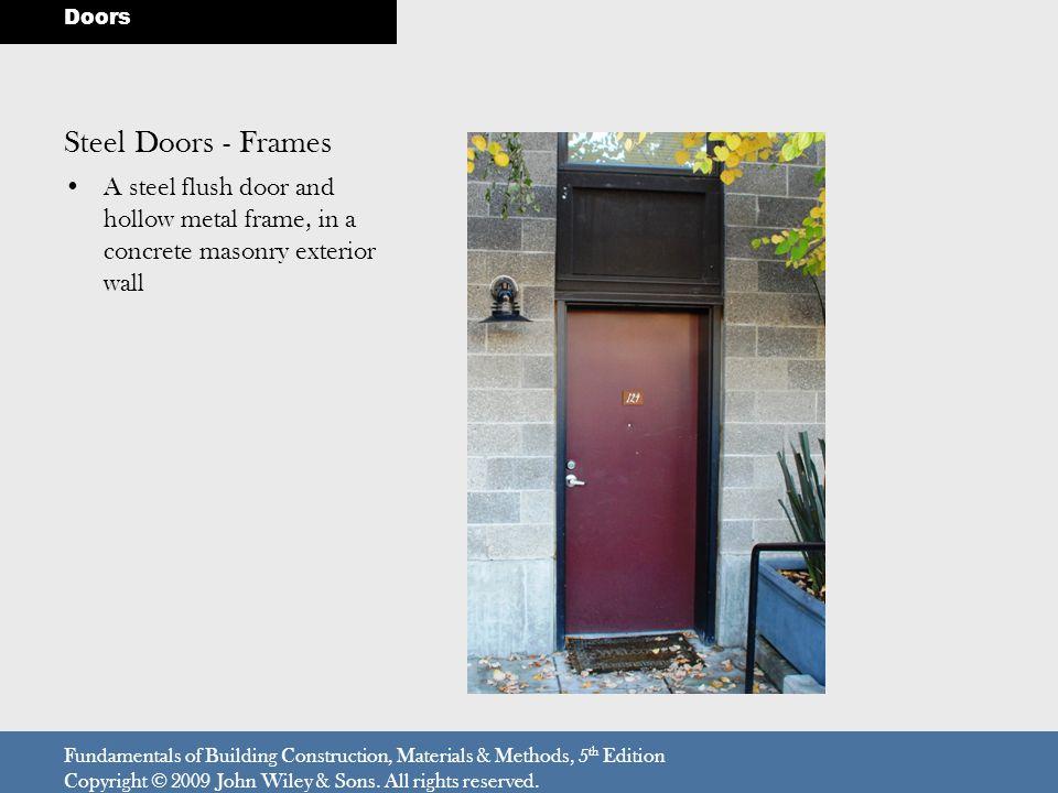 Doors Steel Doors - Frames. A steel flush door and hollow metal frame, in a concrete masonry exterior wall.