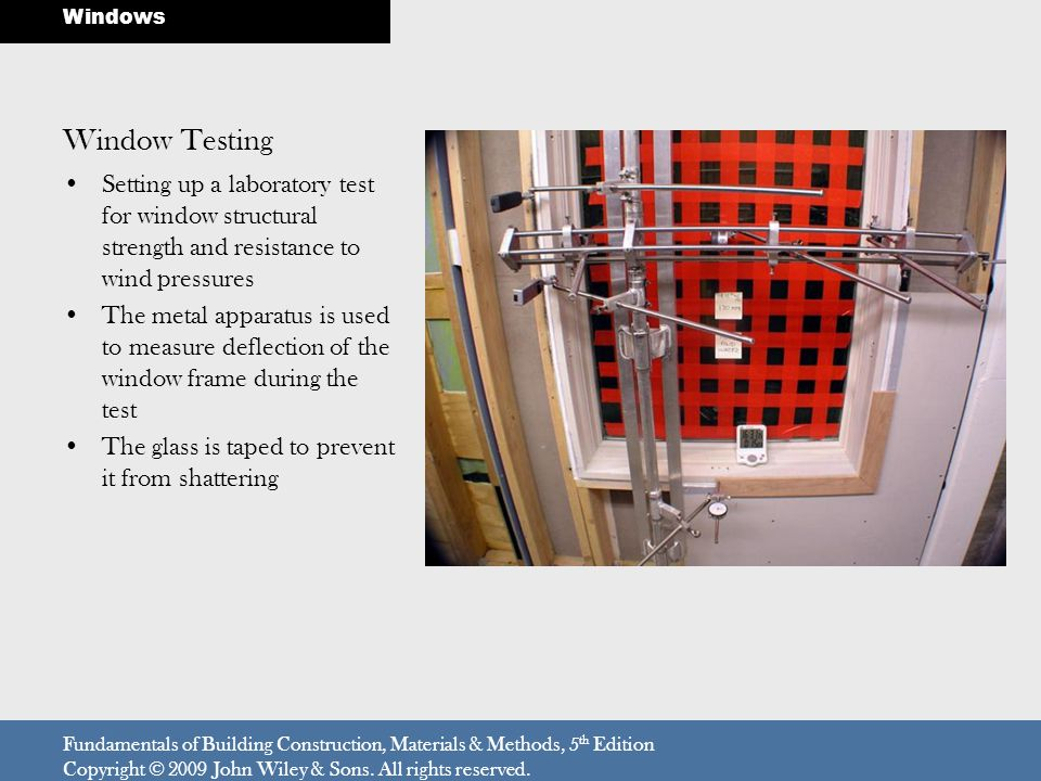 Windows Window Testing. Setting up a laboratory test for window structural strength and resistance to wind pressures.