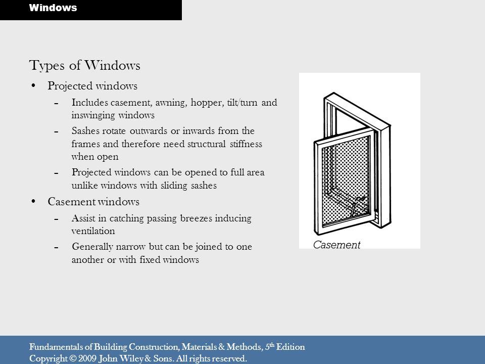 Types of Windows Projected windows Casement windows