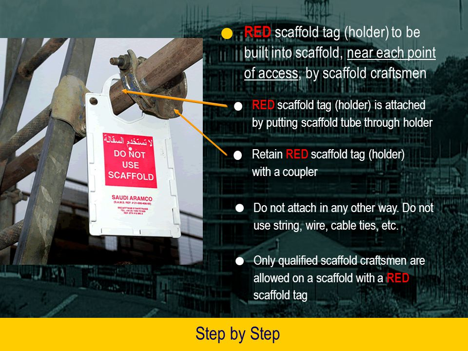 RED scaffold tag (holder) to be built into scaffold, near each point of access, by scaffold craftsmen