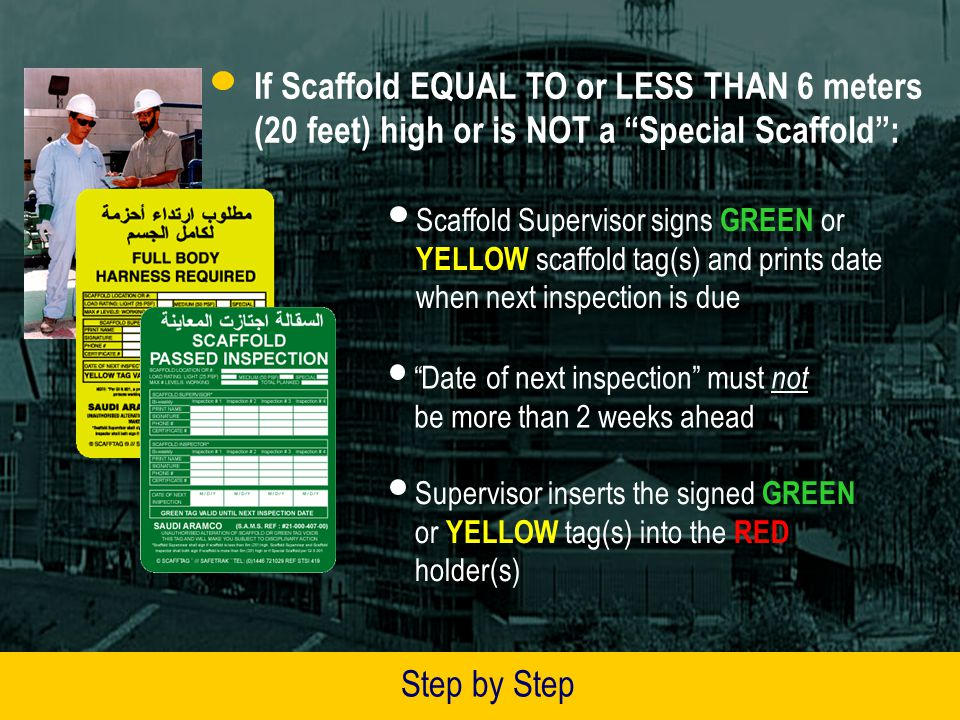 If Scaffold EQUAL TO or LESS THAN 6 meters (20 feet) high or is NOT a Special Scaffold :