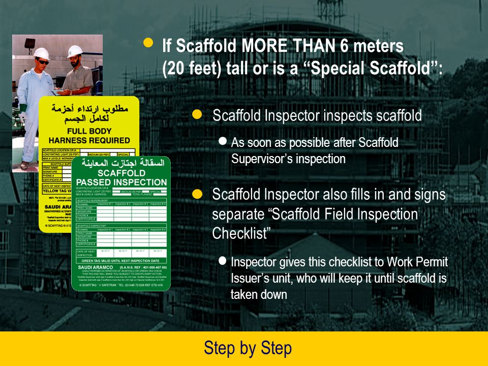 If Scaffold MORE THAN 6 meters (20 feet) tall or is a Special Scaffold :