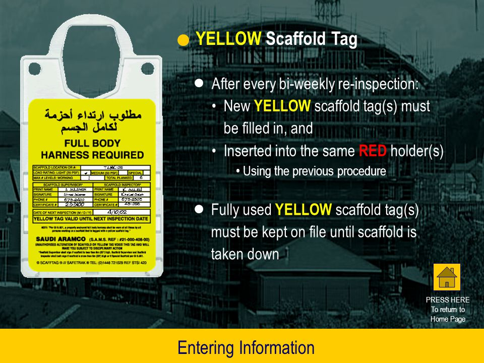 YELLOW Scaffold Tag Entering Information