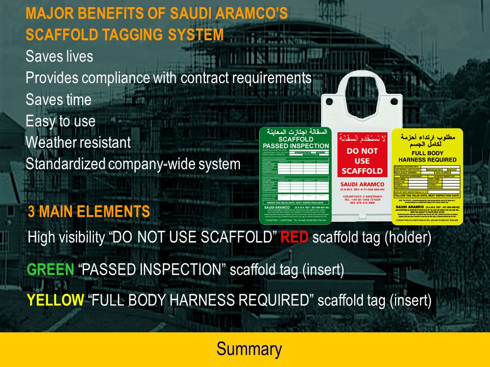 Summary MAJOR BENEFITS OF SAUDI ARAMCO'S SCAFFOLD TAGGING SYSTEM