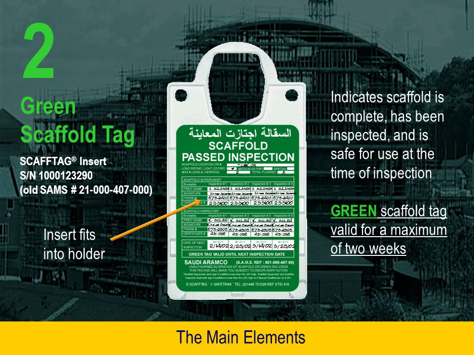 2 Green Scaffold Tag The Main Elements