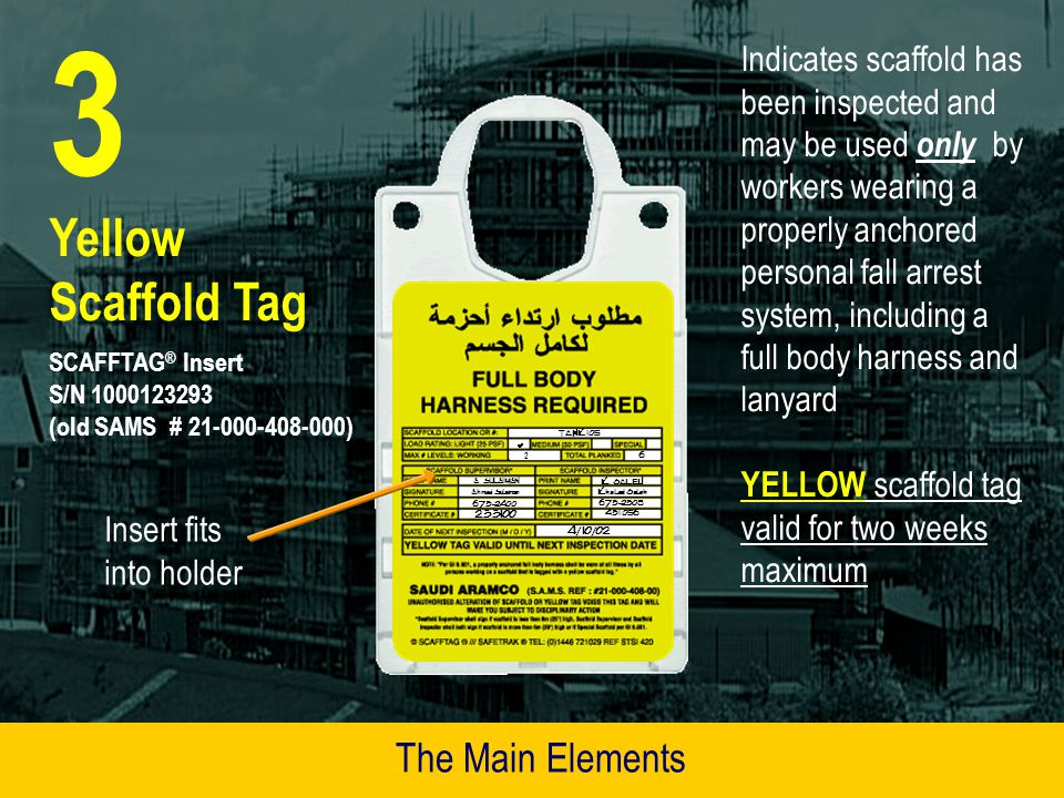 3 Yellow Scaffold Tag The Main Elements