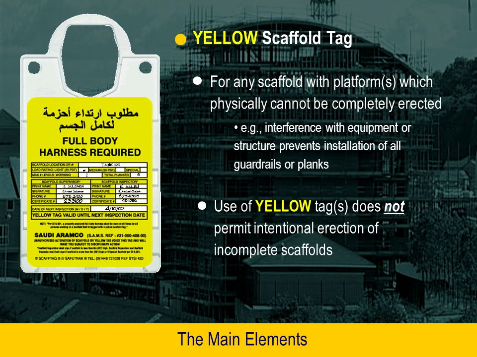 YELLOW Scaffold Tag The Main Elements