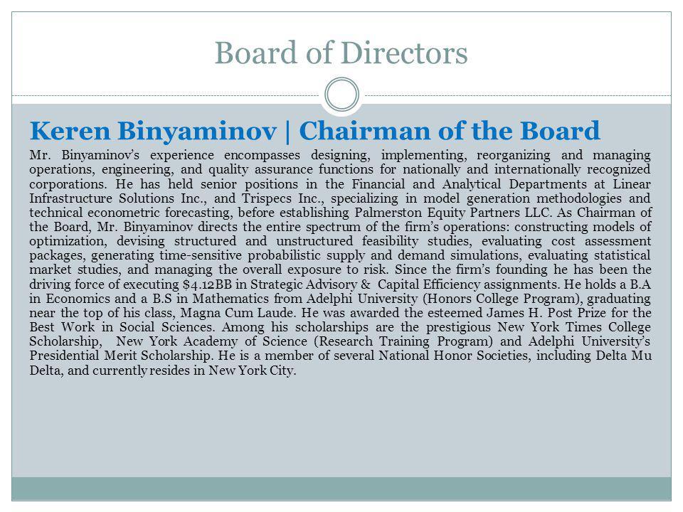 Board of Directors Keren Binyaminov | Chairman of the Board