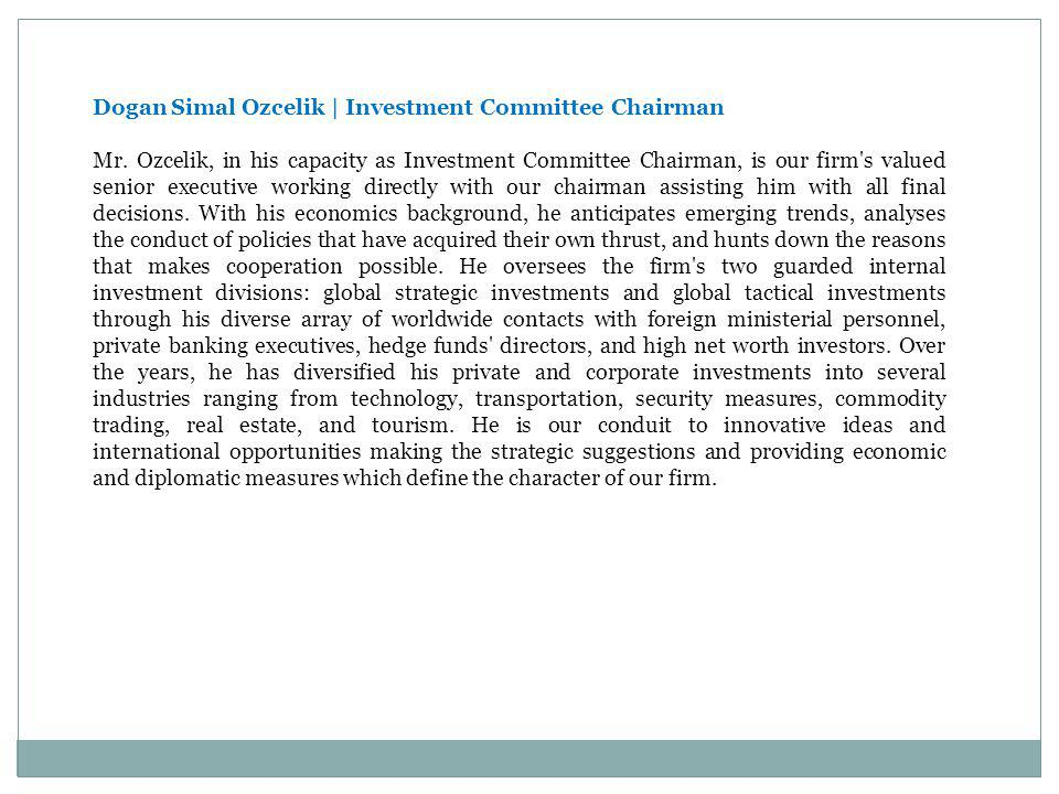 Dogan Simal Ozcelik | Investment Committee Chairman