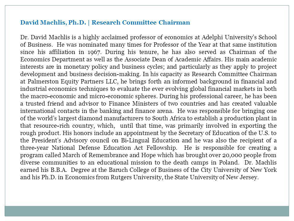 David Machlis, Ph.D. | Research Committee Chairman