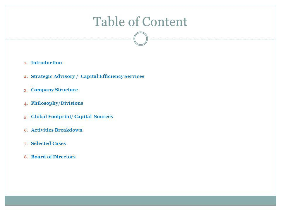 Table of Content Introduction