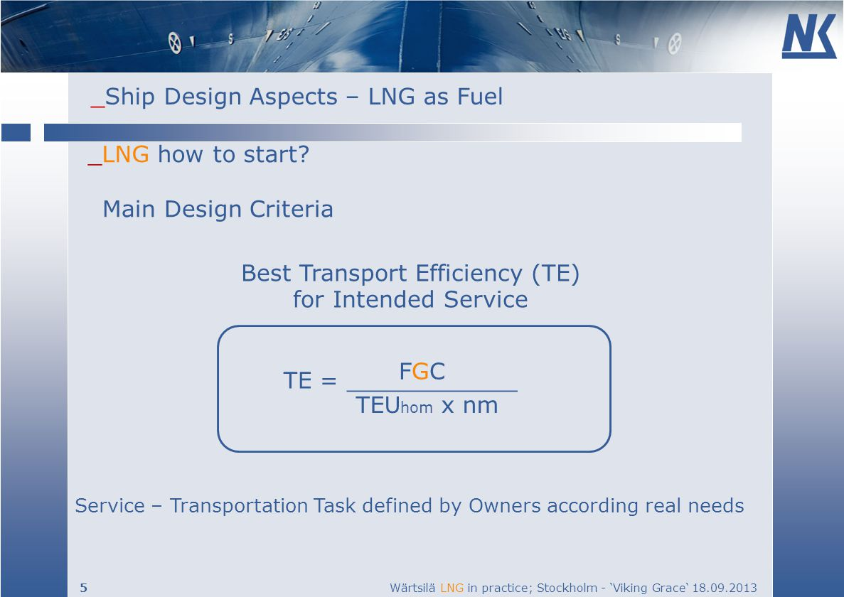 Best Transport Efficiency (TE) for Intended Service