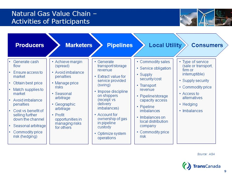 Natural Gas Value Chain – Activities of Participants
