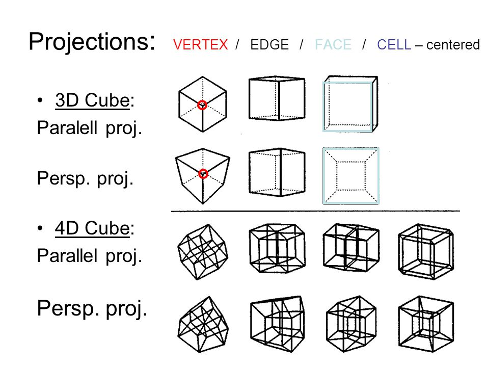 Projections: VERTEX / EDGE / FACE / CELL – centered