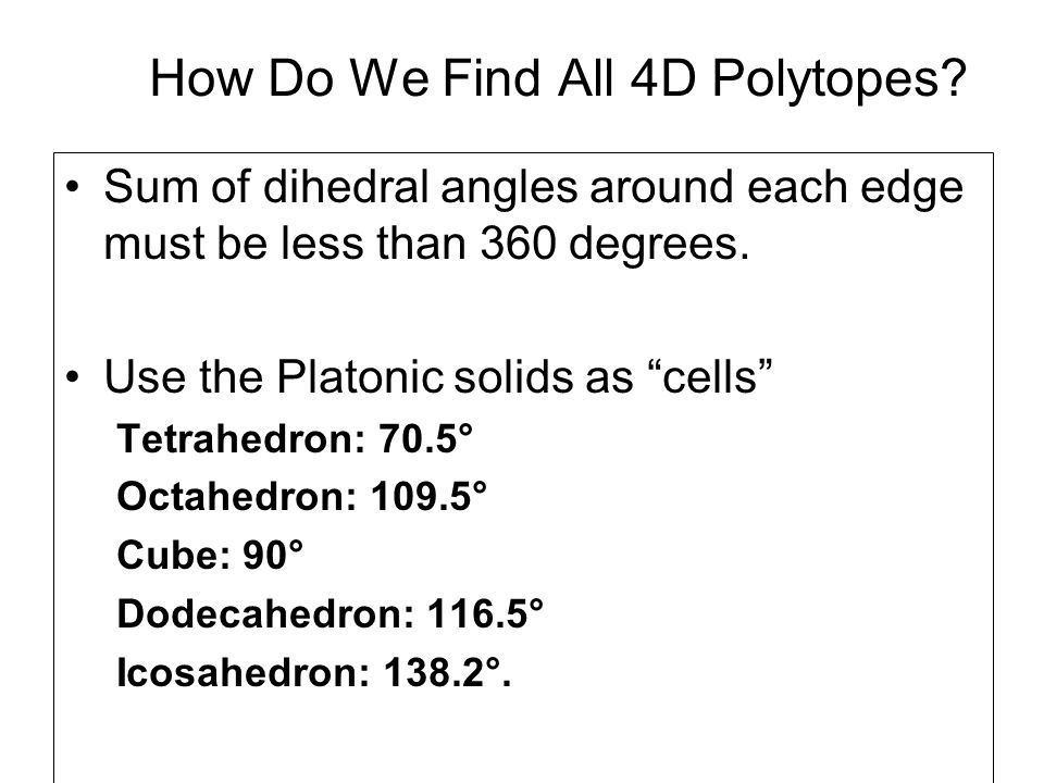 How Do We Find All 4D Polytopes