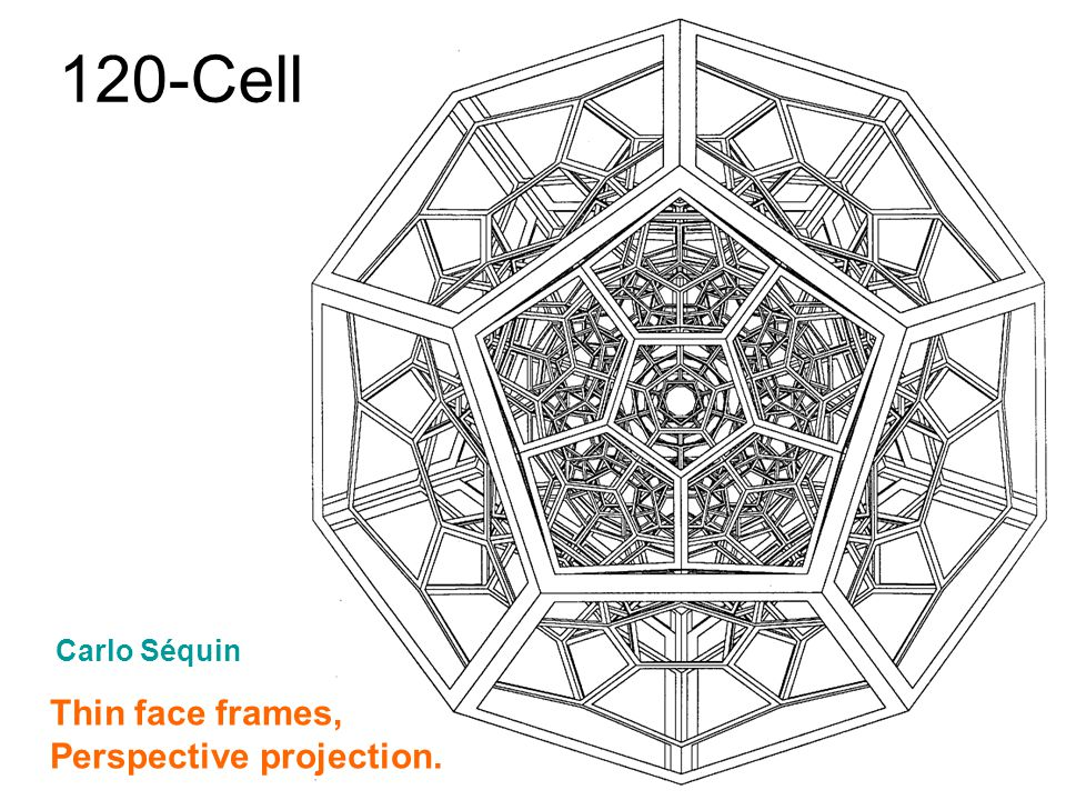 120-Cell Thin face frames, Perspective projection. Carlo Séquin