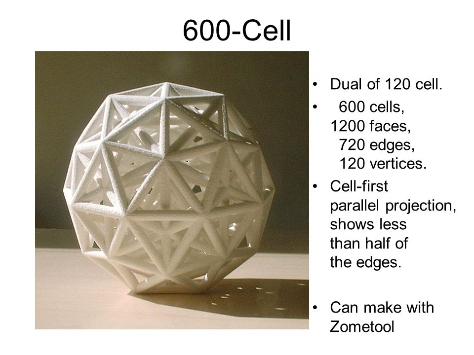 Florida 1999 600-Cell. Dual of 120 cell. 600 cells, 1200 faces, 720 edges, 120 vertices.