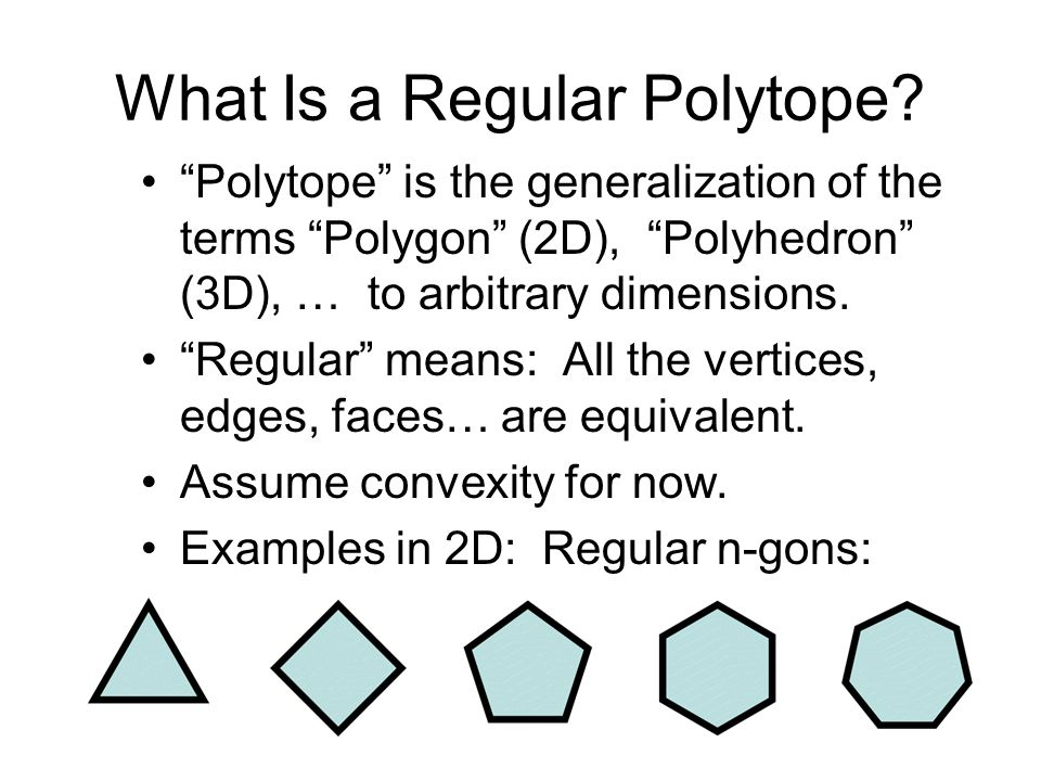 What Is a Regular Polytope