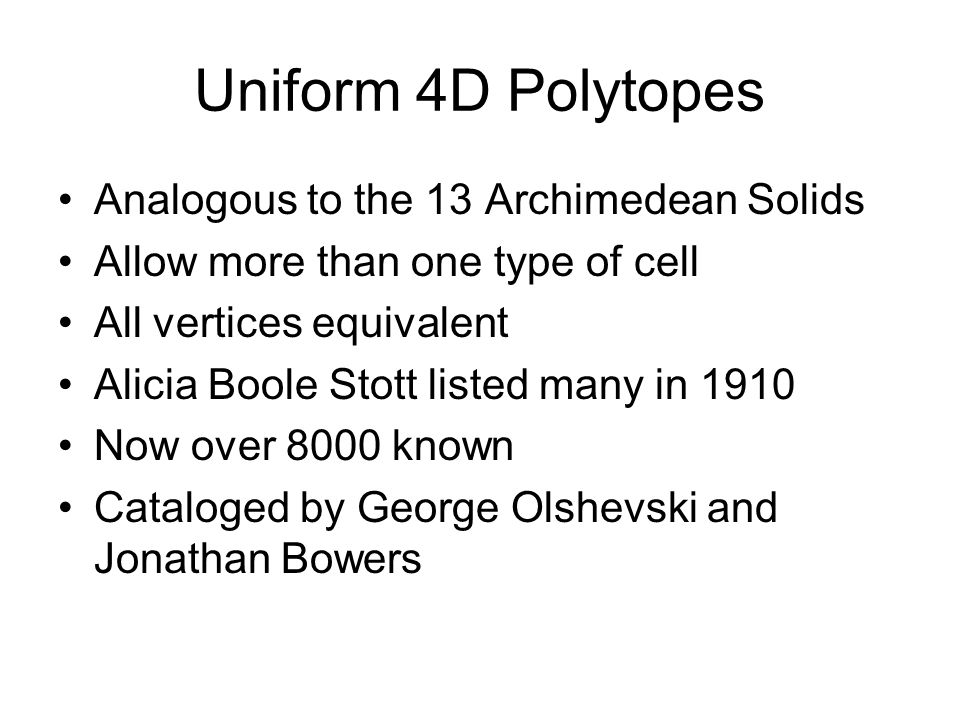 Uniform 4D Polytopes Analogous to the 13 Archimedean Solids
