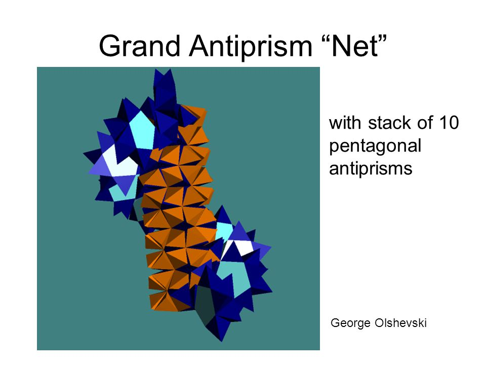 Grand Antiprism Net with stack of 10 pentagonal antiprisms