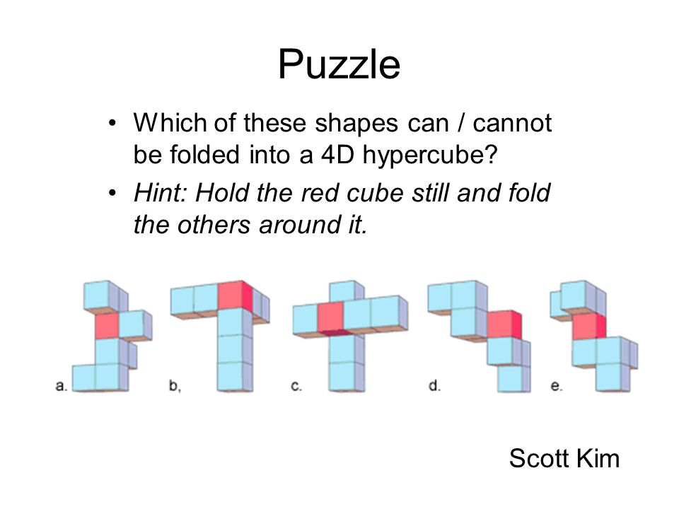 Florida 1999 Puzzle. Which of these shapes can / cannot be folded into a 4D hypercube Hint: Hold the red cube still and fold the others around it.