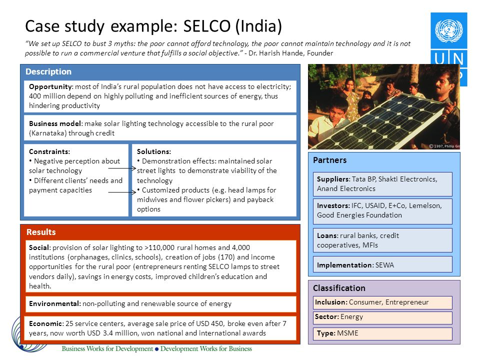 Case study example: SELCO (India)