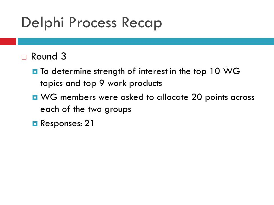 Delphi Process Recap Round 3