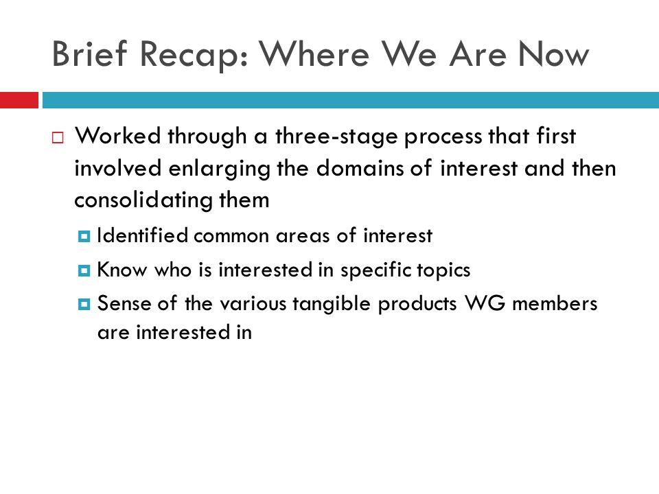 Brief Recap: Where We Are Now