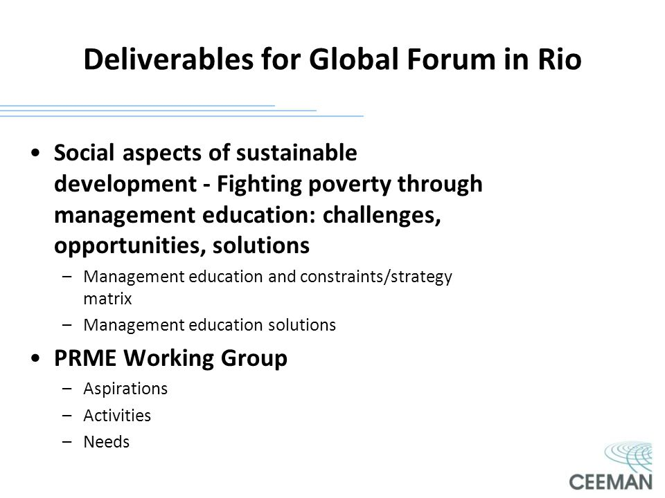 Deliverables for Global Forum in Rio