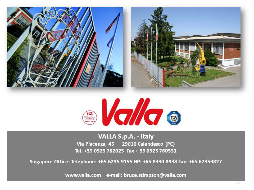 VALLA S.p.A. - Italy Via Piacenza, 45 — 29010 Calendasco (PC)