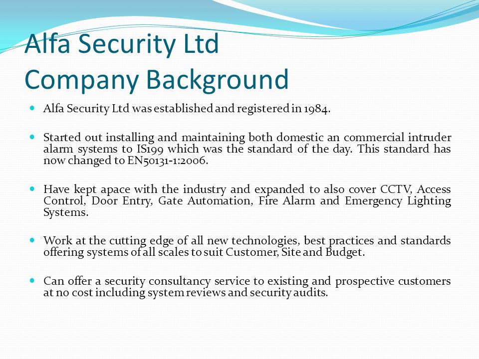 Alfa Security Ltd Company Background