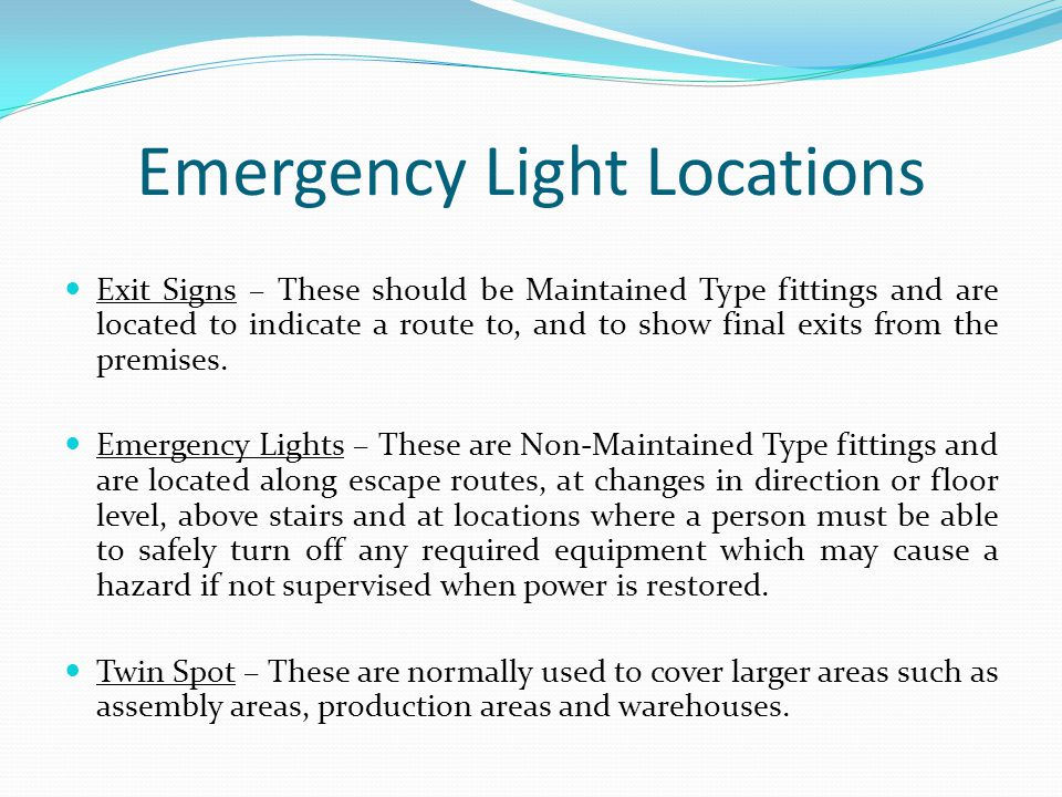 Emergency Light Locations