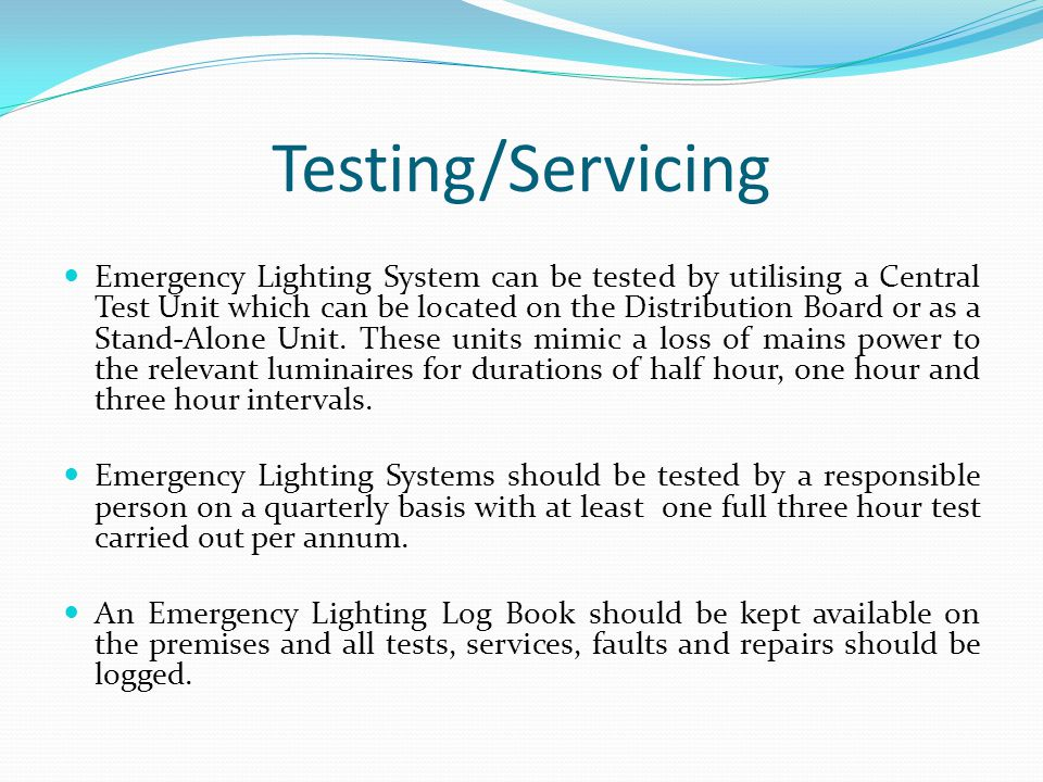 Testing/Servicing