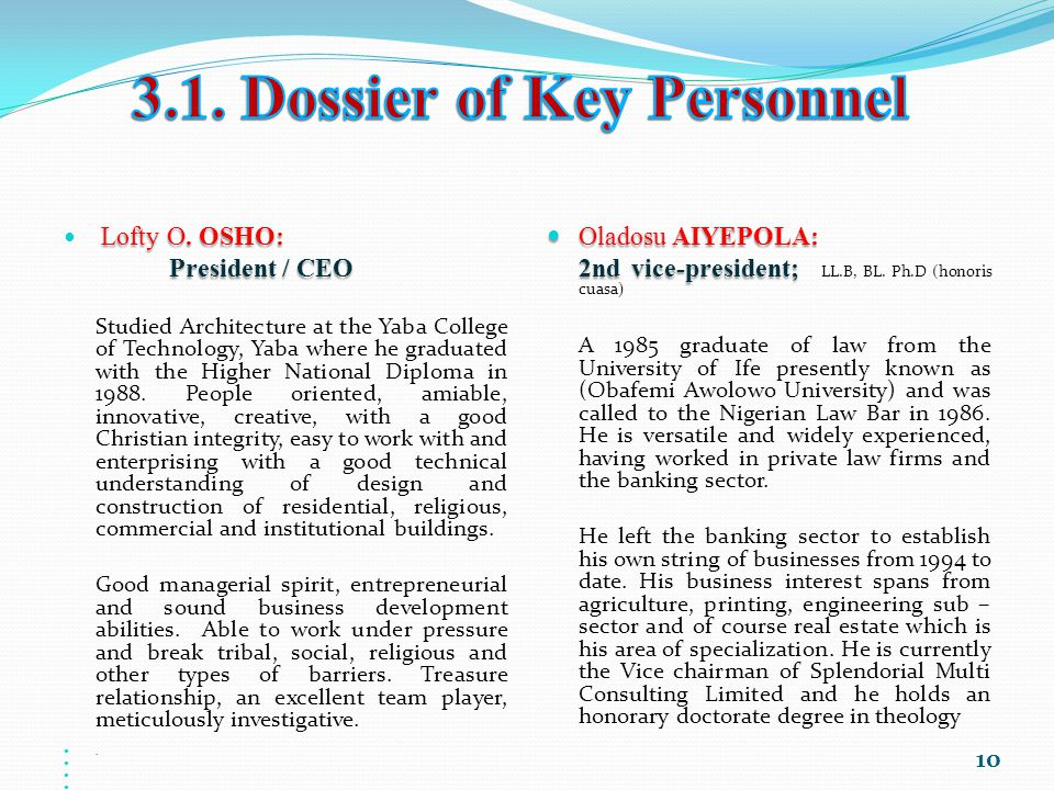 3.1. Dossier of Key Personnel