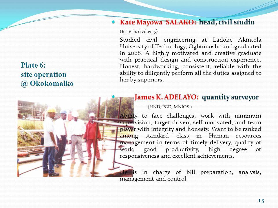 Plate 6: site operation @ Okokomaiko