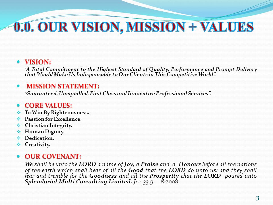 0.0. OUR VISION, MISSION + VALUES