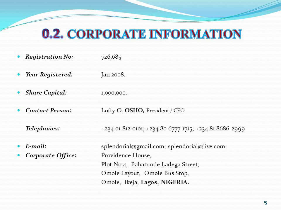 0.2. CORPORATE INFORMATION