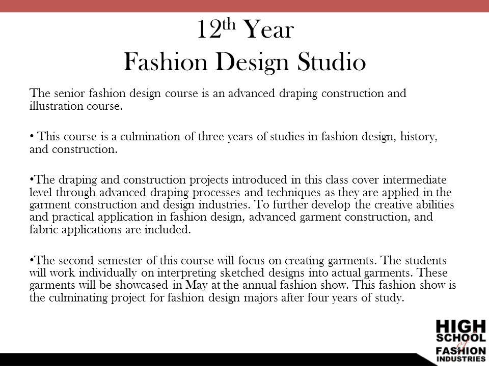 12th Year Fashion Design Studio