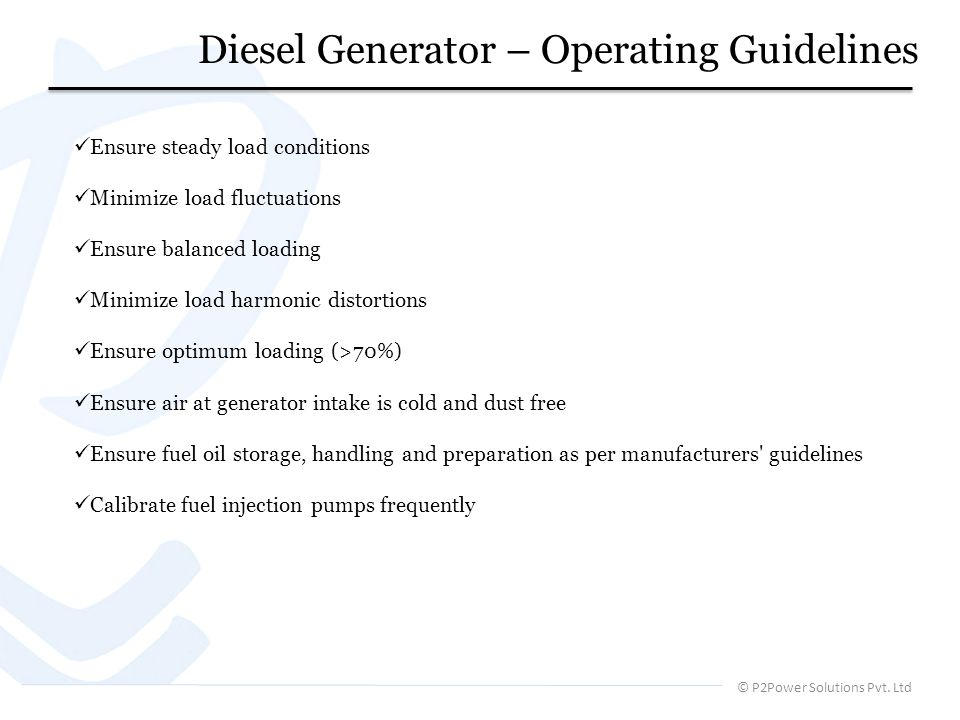 Diesel Generator – Operating Guidelines