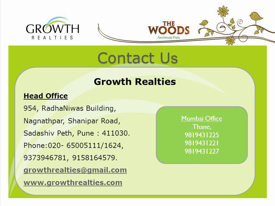 Contact Us Growth Realties Head Office 954, RadhaNiwas Building,