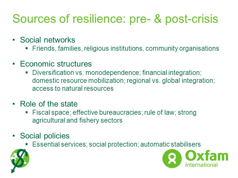 Sources of resilience: pre- & post-crisis