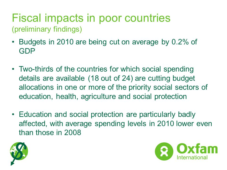 Fiscal impacts in poor countries (preliminary findings)