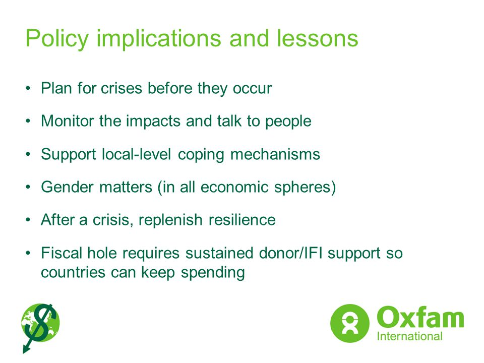 Policy implications and lessons
