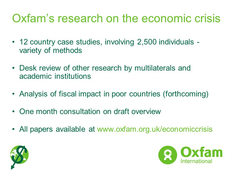 Oxfam's research on the economic crisis