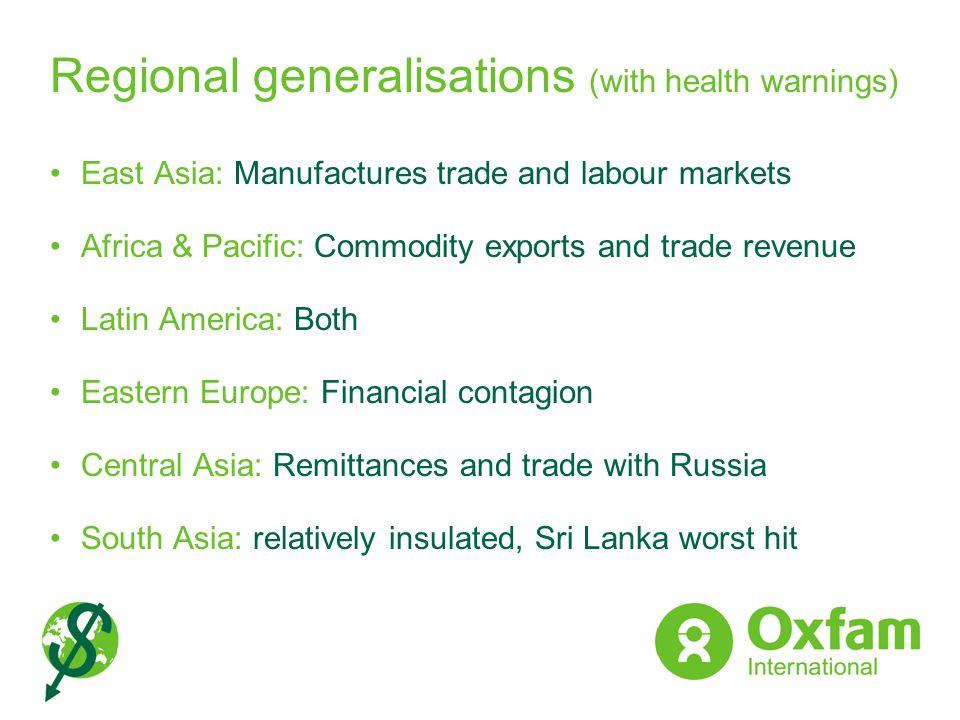 Regional generalisations (with health warnings)