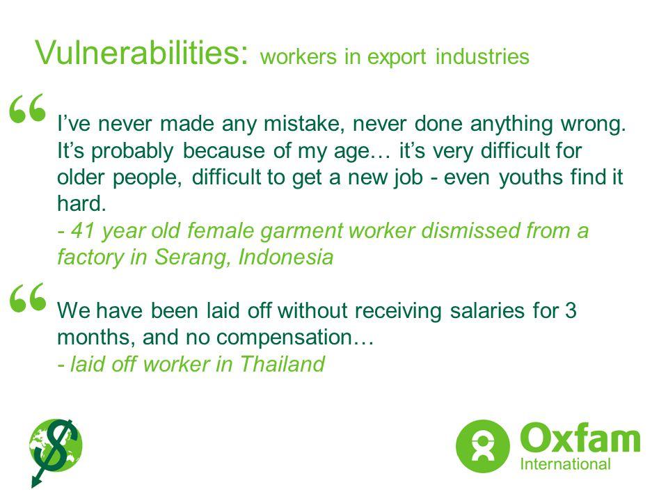 Vulnerabilities: workers in export industries