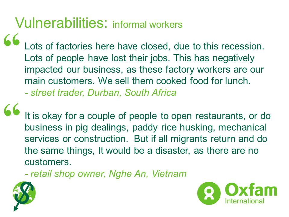Vulnerabilities: informal workers