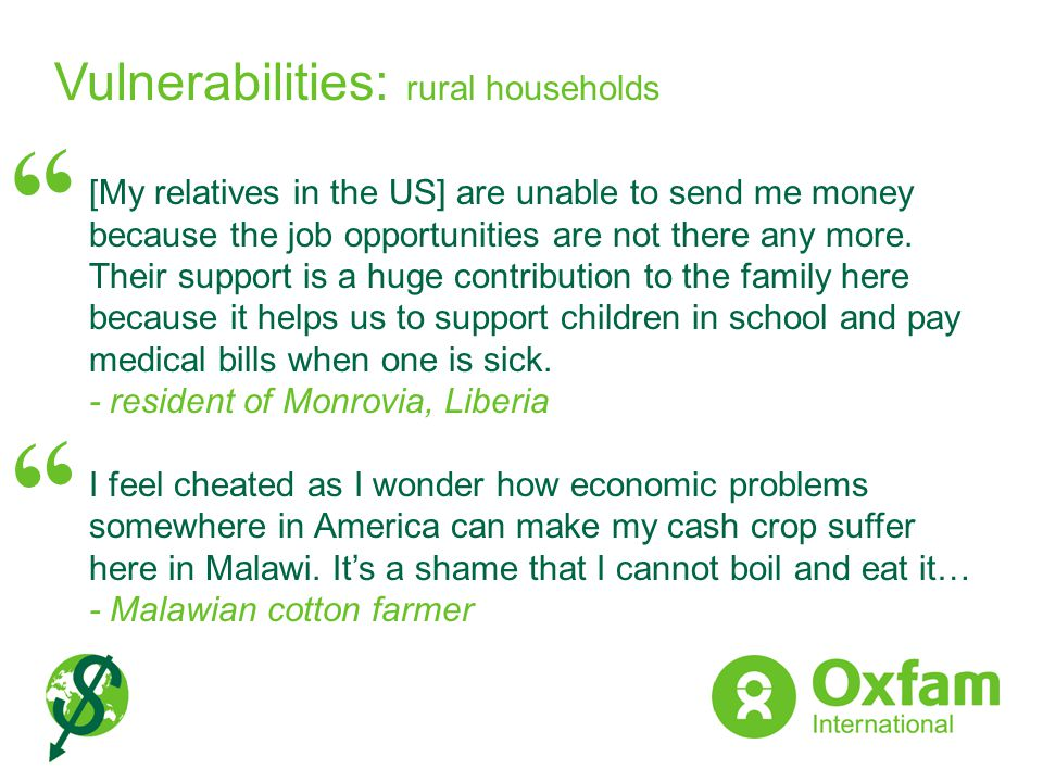 Vulnerabilities: rural households
