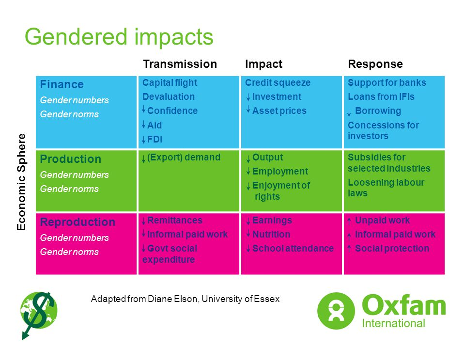 Gendered impacts Transmission Impact Response Finance Production