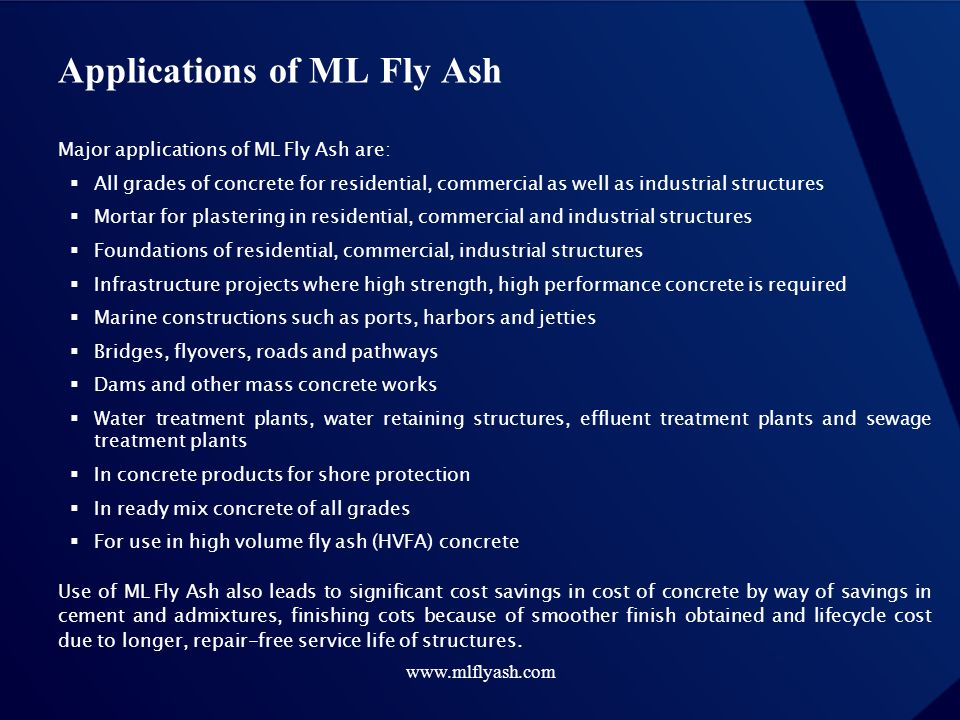 Applications of ML Fly Ash